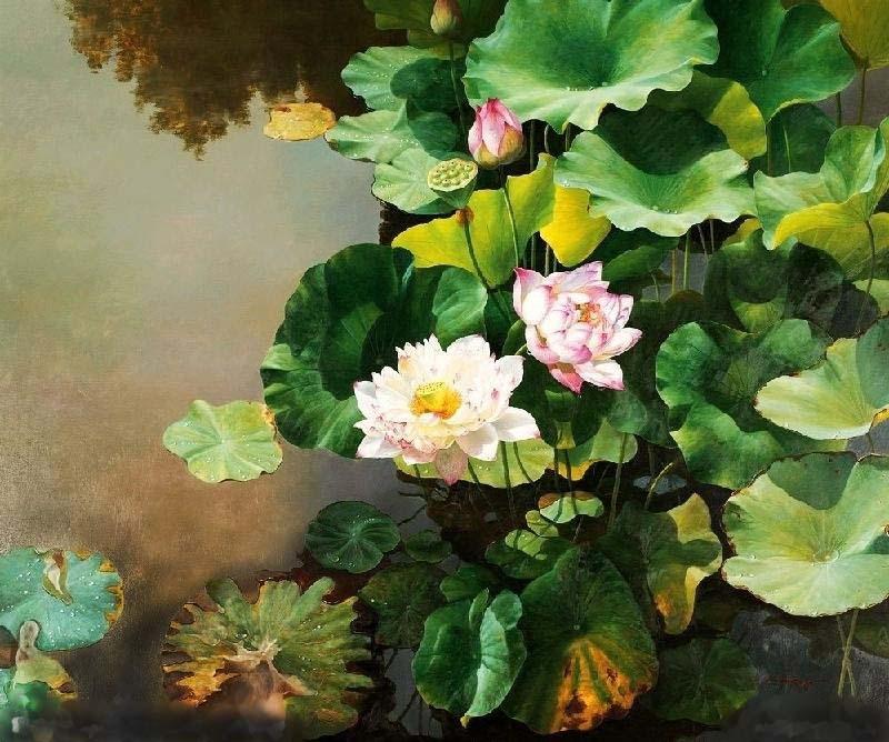 油画荷花1-花卉油画-油画-产品展示-昆明壁画|昆明